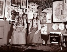 """Girls in Cottage, Marken, by an unknown photographer on a """"Grand Tour"""" through Europe in 1904"""