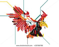 eagle attack geometric line abstract style