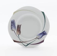 Plate, Tulip and poppy, white rim, ø 19 cm