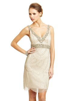 SUE WONG V-Neck Beaded Trim Dress | ideel