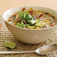 """""""This zesty soup is a great vegetarian version of chicken tortilla soup. Take advantage of fresh corn on the cob as many months of the year as you can find it. But, when cobs are nowhere to be found, frozen kernels are just fine."""" -Rach"""