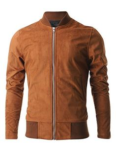 FLATSEVEN Mens Zip up Faux Suede Classic Baseball Bomber Varsity Jacket (VSJ301) Brown, L FLATSEVEN #jackets #menswear #mens fashion #mens jackets #denim #classic jackets