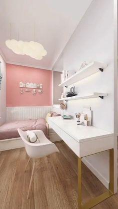 Bedroom Decor For Small Rooms, Bedroom Decor For Teen Girls, Girl Bedroom Designs, Room Ideas Bedroom, Home Decor Bedroom, Girl Bedroom Walls, Cool Room Designs, Bedroom Furniture Design, Home Room Design