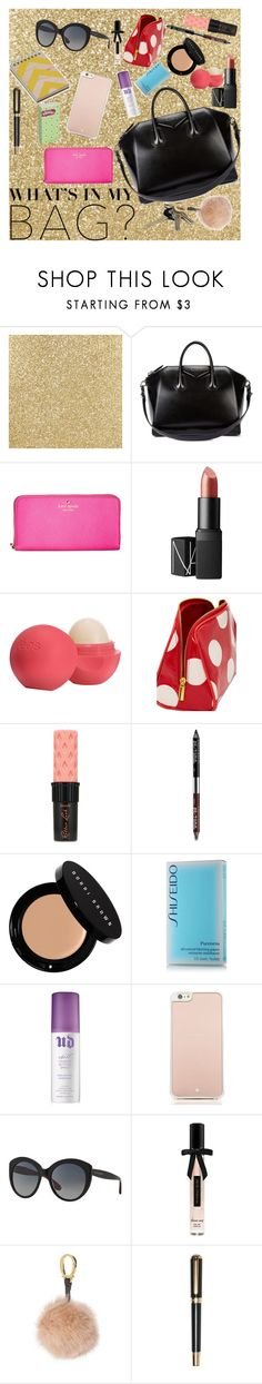 """""""What's in my bag??"""" by jmariel09 ❤ liked on Polyvore featuring Givenchy, Kate Spade, NARS Cosmetics, Eos, Forever 21, Benefit, Urban Decay, Bobbi Brown Cosmetics, Shiseido and Dolce&Gabbana"""