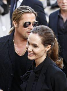 "Angelina Jolie and Brad Pitt at ""World War Z"" Premiere in Paris, June 2013."