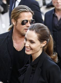"Angelina Jolie and Brad Pitt at ""World War Z"" Premiere in Paris, June 2013."