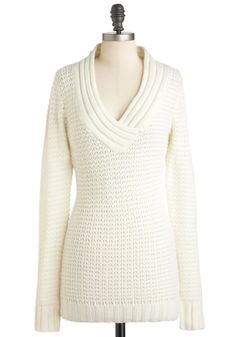 Hold Me Close-Knit Sweater in Ivory - Cream, Solid, Knitted, Casual, Long Sleeve, Long, Sheer, Fall, Winter