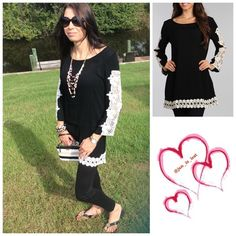 Crochet Tunic Medium Solid tunic top with crochet panel detail and long sleeves. 100% rayon. You like the leggings I have them too!! Tops