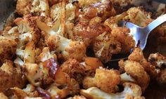 Sweet and spicy roasted cauliflower - This roasted cauliflower recipe gets a bit of a kick from chili powder that's tamed by the tangy sweetness of the molasses. Spicy Roasted Cauliflower, Cauliflower Recipes, Vegetable Recipes, Healthy Vegetables, Roasted Vegetables, Root Vegetables, Healthy Foods, Veggies, Molasses Recipes