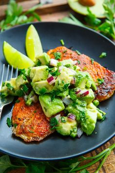 Today I have a super quick, easy and tasty meal for you, a blackened salmon with avocado salsa. This recipe could not be simpler, you just season the salmon with a cajun seasoning and then pan fry it