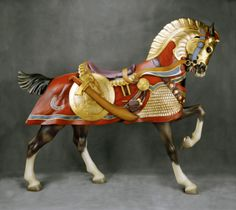 Ca 1905 Conneaut Muller Armored Carousel Horse, Daniel Collection All The Pretty Horses, Beautiful Horses, Carosel Horse, Horse Shop, Wooden Horse, Painted Pony, Hobby Horse, Merry Go Round, Horse Sculpture