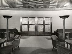The First class Main Lounge of the M.S. Stockholm (III), seen before sea trials on October 1941, the liner whould not enter service, sold and renamed Sabaudia for troopship service and destroyed by british bombers in 1944.