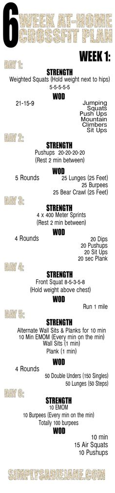 6 week AT-HOME CrossFit INSPIRED workout plan!!! WEEK 1!!!