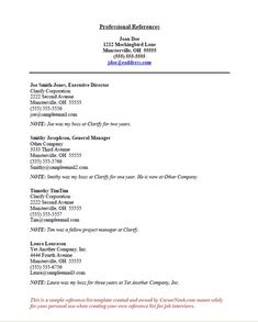 Resume Reference Page Setup Job Hunting Pinterest Sample