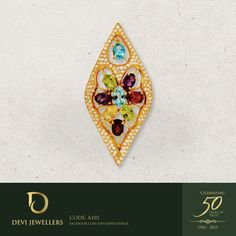 Inspired by a lotus leaf, the focal point of this 22k gold pendant is the six petal flower made of dazzling stones. A sprinkling of Swarovski crystals gives it a final touch of glamour. #DeviJewellers #Gold #Jewellery #Pendant