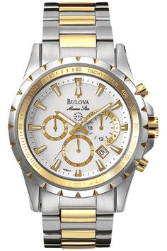 Bulova Men's Two Tone Marine Star Chronograph Watch Bulova Mens Watches, Gents Watches, Sport Watches, Cool Watches, Rolex Watches, Watches For Men, Stainless Steel Bracelet, Stainless Steel Case, Discount Watches