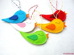 Birdie pendant 5 pieces felt decoration spring Easter - I am pleased to have the latest addition to my to introduce: Bird pendant 5 pieces felt - Diy For Kids, Crafts For Kids, Felt Birds, Felt Decorations, Own Home, Pin Collection, Textiles, Diy And Crafts, Easter