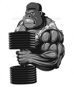 Terrible Gorilla Athlete by Andrey1005 Vector graphics Install any size without loss of quality. ZIP archive contains: - one file format 10 EPS; - one file format JPEG