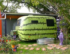 Watermelon Painted Camper http://www.flickr.com/photos/thebloggess/4141745457/in/faves-okimi/ #watermelon #camper