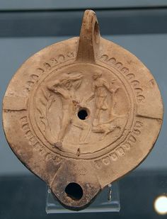 Terracotta oil lamp depicting a blinded Orion and Artemis Artemis, Old Pottery, Minoan, Gods And Goddesses, Oil Lamps, Archaeology, Museum, Ceramics, Personalized Items