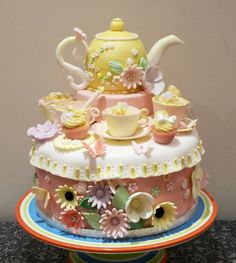 Teapot cake/birthday cake/Baby shower cake - all accents edible, hand made from sugar paste.