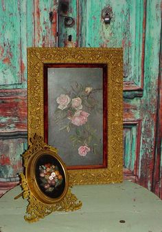 Pink Roses Painting Antique Oil on Board by SimplyCottageChic, $240.00