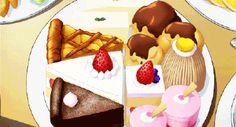 Fetta di crostata, fetta di torta al cioccolato, bigne e altri pasticcini