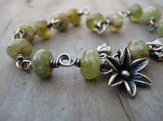 Amelie - Green Garnet Gemstone Bracelet Sterling Silver HANDMADE