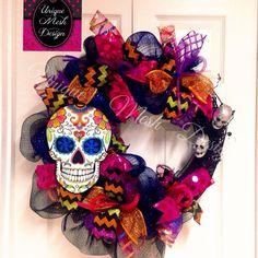 Dia De Los Muertos Wreath Day of the Dead Wreath Sugar Skull Wreath Ready To Shipped by UniqueMeshDesign on Etsy Holidays Halloween, Halloween Crafts, Halloween Decorations, Halloween Party, Halloween Wreaths, Mexican Decorations, Holiday Wreaths, Holiday Crafts, Holiday Fun