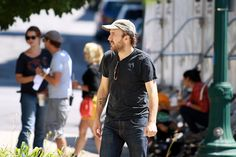"Director Derek Cianfrance stands outside City Hall in Schenectady during filming of ""The Place Beyond the Pines"" in August 2011."