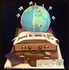 Luggage cake world# luggage# around the world in 70 years cake# Luggage Cake, Amazing Cakes, Cake Ideas, Wedding Cakes, Traveling, Decorating Ideas, Theme Parties, Voyage, Bon Voyage