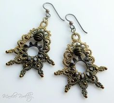 https://flic.kr/p/peG6RD | Tatted earrings with gears | My original design, tatted with hand dyed thread, corrugated brass beads, metal gears, and seed beads.