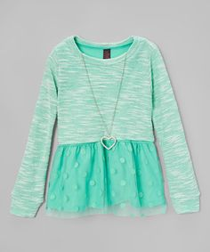 Look what I found on #zulily! Mint Polka Dot Overlay Necklace Tunic - Girls #zulilyfinds