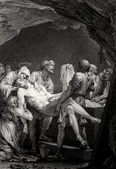 Christ's earthly ministry in the Phillip Medhurst Bible 484 of 550 Jesus is laid in the sepulchre Mark 15:46-47 French School on Flickr. A print from the Phillip Medhurst Collection at St. George's Court, Kidderminster.