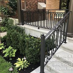 Exterior Railings – Dufferin Iron & Railings Exterior Stair Railing, Front Porch Steps, Iron Railings, Entry Stairs, Driftwood, Curb Appeal, House, Ideas, Home