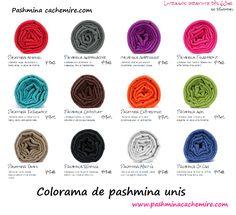 Pashmina - Colorama de pashmina uni. Pashmina cachemire à porter en étole autour du cou, sur la tête ou autour des épaules. Pashmina en laine cachemire indien d'Inde, Indian cashmere stole, shawl, wool and scarf from India chez Pashminacachemie.com