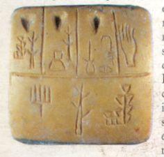 Tableta de arcilla con escritura pre-cuneiforme. (Se presume que es un tipo de factura o registro de productos agrícolas comercializables)