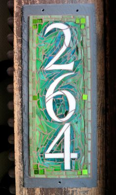 Vertical 3 Digit House Number Mosaic Slate (wide)