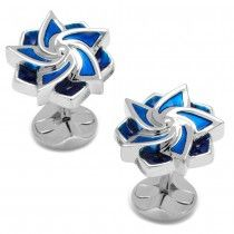 Ox and Bull Trading Co. Blue Geometric Flower Cufflinks