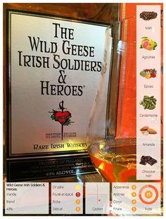 Le Wild Geese Irish Soldiers & Heroes est un whisky irlandais de la distillerie Cooley. Très bon (15/20) Au nez on distingue des arômes légers de malt d'agrumes et d'épices desquels se dégagent des pointes de cardamome. En bouche on découvre des saveurs d'épices et de malt accompagnés de petite touches d'amande et de chocolat noir. La finale est longue et comporte des notes de chênes. La Jim Murray's Whiskey Bible 2009 lui avait accordé la note de 93. Même s'il est très bon je pense que…