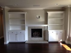 Built in cabinets around fireplace | For the home | Pinterest
