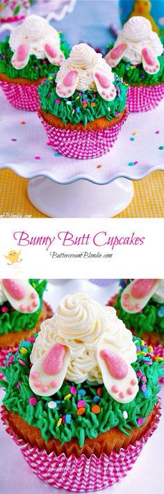 Bunny Butt Cupcakes | ButtercreamBlondie.com