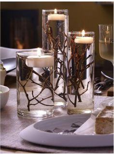 DIY Table decoration wedding floating candles branches cylinder vases Shopping For The Right Mattres Floating Candles Wedding, Diy Candles, Christmas Crafts, Christmas Decorations, Holiday Decor, Autumn Cozy, Ideias Diy, Fall Decor, Wedding Decorations