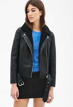 Faux Shearling Collar Moto Jacket | Forever 21 - 2000099016