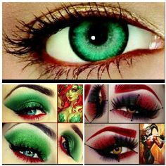 Poison Ivy and Harley Quinn eye make-up! I would use the bright green contacts with the Poison Ivy make-up!