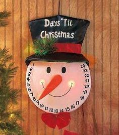 Get excited for Saint Nick with the Fiber-Optic Christmas Countdown! Simply move the figure' Days Until Christmas, Christmas Countdown, Christmas Snowman, Christmas Holidays, Christmas Crafts, Merry Christmas, Christmas Ornaments, Christmas Ideas, Santa Face