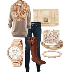 brown and gold fall outfit