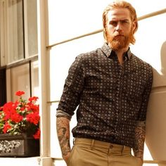 Gwilym Pugh - red beard mustache beards bearded man men mens' style fashion clothing tattoos tattooed bearding redhead ginger tattoos tattooed #beardsforever