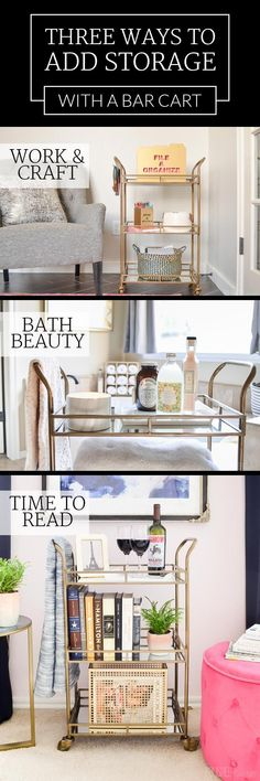 Looking for creative ways to add storage in your home? A bar cart could be a great solution! Love all these ideas - click for sources!
