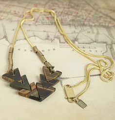 """""""Convergence Necklace"""" with Tiger's Eye chevron-shaped stones.  $125"""